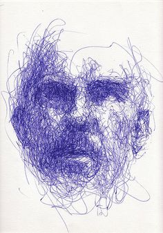 "weird face (mine again), weird angle and lighting, via webcam, 16""x12"" Bic Cristal Gel Medium pen on paper"