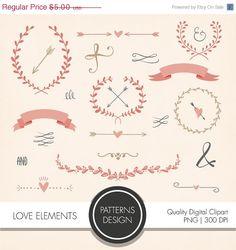 23 Cliparts Éléments d'amour _ usage commercial par PatternsDesign