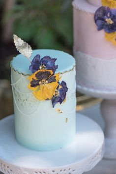 Tiered Cakes with Sugar Flowers via Kara's Party Ideas | karaspartyideas.com Love the pansies!