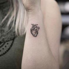 Tiny Anatomical Heart Tattoo by maxim.nyc Tiny Anatomical Heart Tattoo by maxim. Ink Tattoo, Piercing Tattoo, Body Art Tattoos, New Tattoos, Sleeve Tattoos, Piercings, Tattoos Of Hearts, Fashion Tattoos, Geometric Tattoos