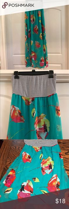 Striped and Floral Sleeveless Dress Teal blue with Flowers.  Lining inside comes down 27 1/2 inches under dress.  Top part is white with black stripes.  Dress is full length. Xhilaration Dresses Maxi