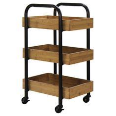 The Portable Storage Cart with 3 Removable Bamboo Trays from Oceanstar is the perfect portable storage and organization unit to complement your household. It features 3 removable trays that can be used Extra Storage Space, Storage Spaces, Cama Industrial, Modern Industrial, Industrial Furniture, Rolling Storage Cart, Ikea, Utility Cart, Book Storage
