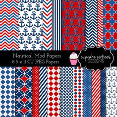 Nautical Modern Digital Paper Pack - beautiful patriotic papers for your summer craft and creative projects.