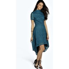 Boohoo Night Ara Embroided Mesh High Neck Dip Hem Dress ($44) ❤ liked on Polyvore featuring dresses, teal, sequin bodycon dress, blue cocktail dresses, blue maxi dress, sequin maxi dress and cocktail party dress