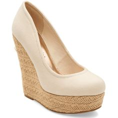 Aeropostale Madden Girl Thicke Wedge (£23) ❤ liked on Polyvore featuring shoes, wedges, chaussure, heels, nude beige, wedge heel shoes, high heel pointed heel shoes, woven shoes, beige shoes and pointy high heel shoes