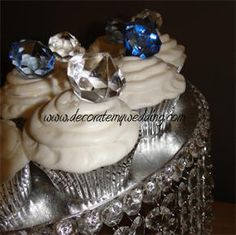 "Use the blue rock edible candy....""Clear Diamond Cupcake Toppers 20 pack @ R300"""