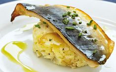 Hot smoked mackerel fillets with crushed potato and chive oil  - Telegraph