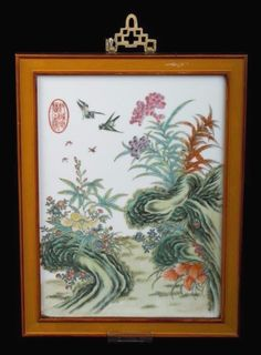 China 19. Jh. Tafel - A Chinese Famille Rose Porcelain Panel Chinois Cinese Qing