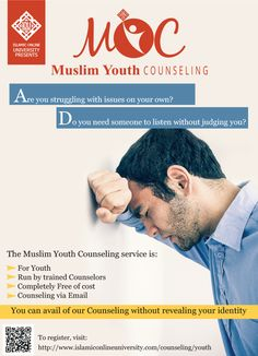 IOU's Islamic Counselling Service presents Muslim Youth Counseling! Islamic Online University, Ma Degree, Islamic Studies, Equal Opportunity, Graduate Program, Allah Islam, Counselling, Higher Education, Economics