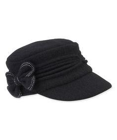 Black Bow Trim Wool Cadet Cap