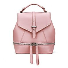 Yoins Leather-Look Mini Backpack in All Pink (2.110 RUB) ❤ liked on Polyvore featuring bags, backpacks, yoins, borse, handbags, pink, mini backpack, vegan leather bags, vegan backpack and vegan bags