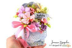 Sweet scrapbooking birthday box full of handmade flowers. Birthday Box, Birthday Wishes, Exploding Box Card, Birthday Scrapbook, Handmade Flowers, Alice, Sweet, Cards, Scrapbooking