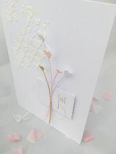 Wunderschöne Karte in Weiß, Pink und etwas Gold - von: Love Cards & Papers by Alexa: Ja