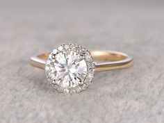 1ct brilliant Moissanite Engagement ring Two Tone Plain gold,Diamond wedding band,Halo Round Stone,Promise Bridal Ring,Anniversary Ring by popRing on Etsy