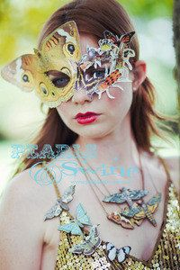 Butterfly Insect Mask Pop Surreal West Yorkshire Bizarre Quirky Halloween Unique Hand Crafted Fashion British Colourful One of a Kind