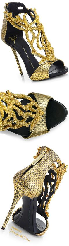 077e59bbd6e Giuseppe Zanotti Goldtone Coral Python Sandals Coral Sandals