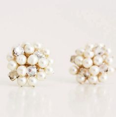 These darling little stud earrings are made from tiny Swarovski pearls and vintage Swarovski rhinestones from Austria. I can make them with