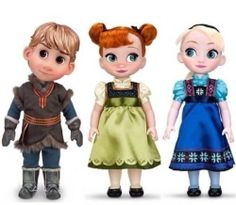 Disney Store Frozen Elsa Anna Kristoff Animator Collection Toddler Dolls Set