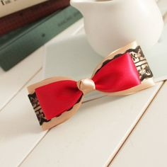 My Colour 100% Handmade Elegant red satin black lace bow Hair Accessories Hair Clip >>> Want additional info? Click on the image.