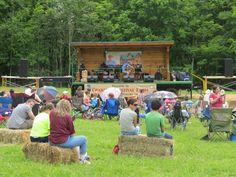 Festival goers enjoying the live music at Chantilly Farm in Floyd, VA.