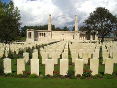 VIS-EN-ARTOIS BRITISH CEMETERY. Begun 8/1918 & used by fighting units & field ambulances until 10/1918. Consisted of 430 graves (in Plots I + II). Increased after Armistice by concentration of graves from battlefields of 4-6/1917, 8+9/1918, & smaller cemeteries. Contains 2369 WWI burials & commemorations. 1458 are unidentified, special memorials - 8 casualties known or believed to be buried amongst them, & 4 soldiers buried in other cemeteries whose graves could not be found on concentration