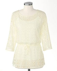 Charming eyelet tunic is perfect for cruise wear or summer nights.