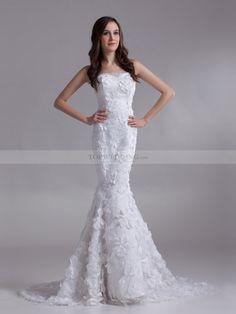 Deirdre - Strapless satén sirena vestido de novia