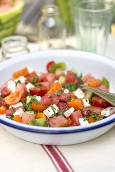 Watermelon Greek salad with tomatoes, feta and mint