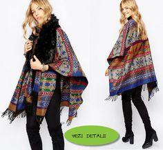 poncho tricotat cu model aztez de la ASOS Asos, Kimono Top, Women, Fashion, Templates, Tricot, Moda, Women's, Fashion Styles