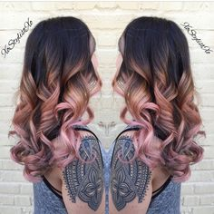 "Beautiful ""Peach Blush"" color design by @xostylistxo! #hotonbeauty @hotonbeauty Hot Beauty Magazine hair balayage dip dye waves colour"