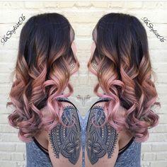 "Beautiful ""Peach Blush"" color design by @xostylistxo! #hotonbeauty @hotonbeauty Hot Beauty Magazine hair balayage dip dye waves colour"