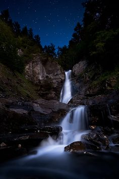 Waterfalls and night sky, Champéry, Valais, Switzerland