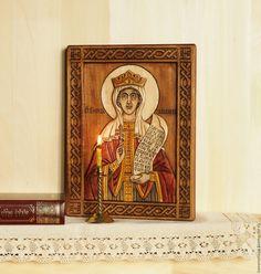Купить «Святая Параскева Пятница» - икона резная из дерева - резьба по дереву, Ручная резьба по дереву
