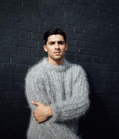 Men's fuzzy mohair sweater