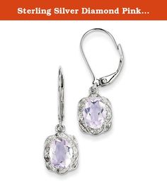 Sterling Silver Diamond Pink Quartz Earrings. Product Type:Jewelry Jewelry Type:Earrings Earring Type:Drop & Dangle Material: Primary:Sterling Silver Material: Primary - Color:White Material: Primary - Purity:925 Length of Item:29 mm Width of Item:9 mm Earring Closure:Leverback Stone Type_1:Rose de France, Amethyst Stone Creation Method_1:Natural Stone Treatment_1:Heating Stone Shape_1:Oval Stone Color_1:Pink Stone Size_1:8 x 6 mm Stone Quantity_1:2 Stone Weight_1:2.02 ctw (total weight)...