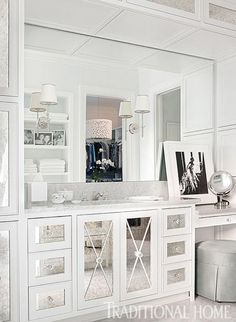 How could you not feel glamorous getting ready at this gorgeous vanity? - Traditional Home ® / Photo: Emily Jenkins Followill / Design: Bradshaw Orrell