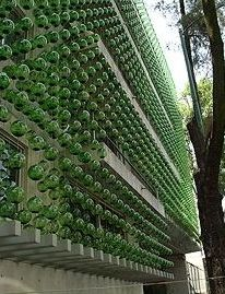 A close-up of the apartment with the green glass spheres.