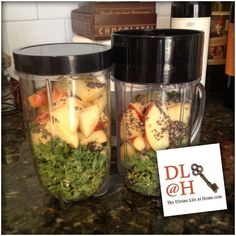 Afternoon Snack Idea : kale, apples, chia, flaxseed.    It's so easy to buzz thru the day without remembering to FUEL the system.  This is one of my favorite to-go snacks if I'm not going to sit down and eat a salad.      #divinelifeathome #divinelifekitchen