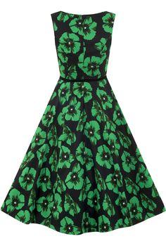 Green Poppy Floral Hepburn Dress : Lady Vintage