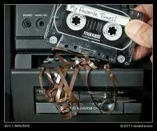 Disaster when the cassette recorder ate your cassette and ruined it
