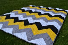 Modern Quilt Chevron Yellow Gray Black Geometric   love pattern but not so much the charlie brown colors together