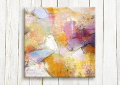 "Abstract art print on canvas, Pastel color abstract, 12""x12"", 30x30 cm, free shipping"