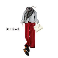 小豆粥を意識したボルドーパンツが主役!好相性のグレーでなじませて【2018/1/15コーデ】Marisol ONLINE|女っぷり上々!40代をもっとキレイに。