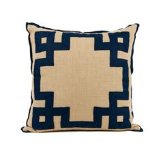 Monogram Goods' Fretwork Pillow - Can you even imagine how awesome this would be with a monogram in the middle!? (they can do that)