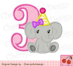 Baby Elephant with Birthday Number 3-for girls, Elephant, Animal embroidery design -4x4 5x7 6x10-Machine Embroidery Applique Design by CherryStitchDesign on Etsy
