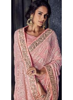 Light Pink Lucknowi Embroidered Saree features a bemberg saree embellished with lucknowi work and gota patti border alongside a dhupioni silk blouse. Embroidery work is completed with stone, gota patti and handwork embellishments on this style. Peach Color Saree, Peach Colors, Saree Wedding, Wedding Wear, Wedding Reception, Anarkali Gown, Lehenga, Saree Sale, Designer Anarkali