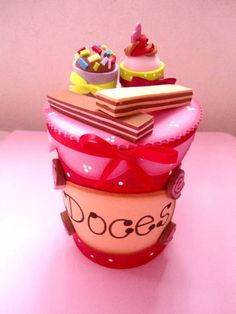 Christmas Candy Biscuits Cupcake Ice Cream Pasta Decorated Jars Candy Jars Party Favors Sweet Like Candy Candy Land, Foam Crafts, Diy Crafts, Biscuit Cupcakes, Cream Pasta, Sweet Like Candy, Recycle Cans, Creative Box, Foam Sheets