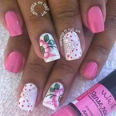 Pink Nail Art, Pink Nails, Gel Nails, Flower Nails, Nail Flowers, Makeup Must Haves, Fabulous Nails, Summer Nails, Pedicure