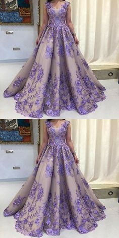 A-Line Scoop Sleeveless Lavender Tulle Prom Dress with Appliques M2219