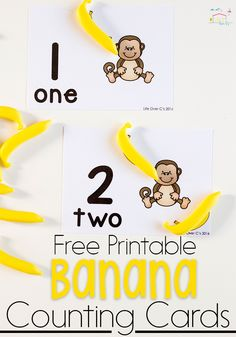 These free printable monkey & banana counting cards for numbers are perfect for your preschool math centers. Practice 1 to 1 correspondence with this free math printable. Math Activities For Kids, Counting Activities, Hands On Activities, Teaching Kids, Number Activities, Kindergarten Learning, Animal Activities, Classroom Activities, Free Preschool